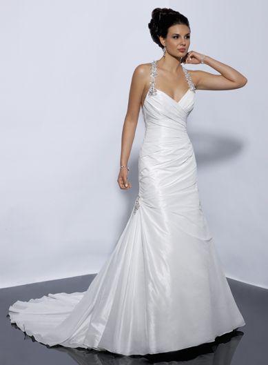 Modern halter natural waist taffeta wedding dress