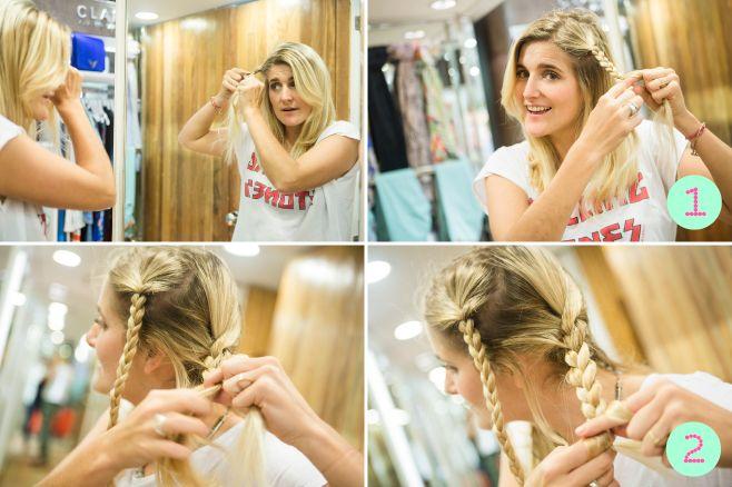 Paso 1: Dividir el cabello en cuatro partes. Adelante, de cada lado, armar una trenza finita. Paso 2: Atrás, sobre cada uno de los laterales, armar una trenza. Empezamos por el lado izquierdo.