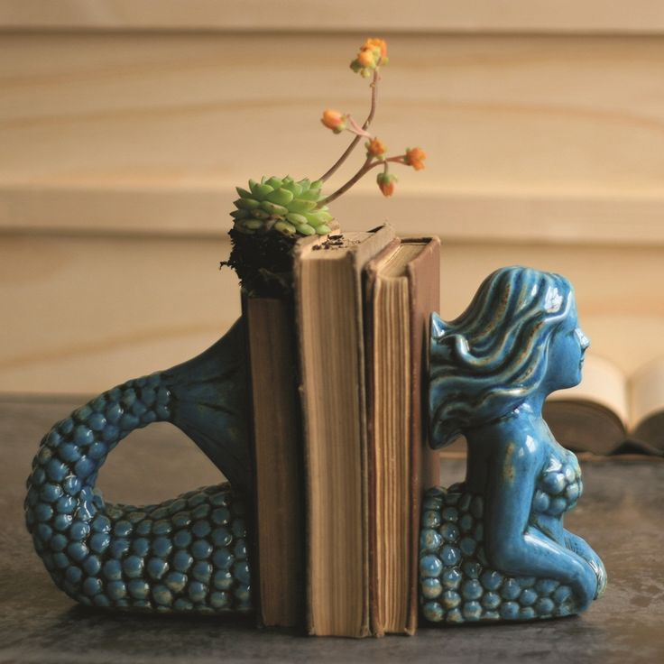 Ceramic Mermaid Bookends, Turquoise made by Charming Rustic Accents. >> Gift idea