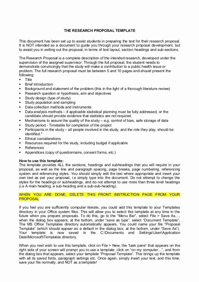 One Page Proposal Template Doc Elegant Research Example Writing A Dissertation Prospectu Outline