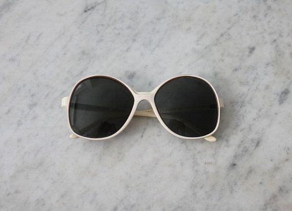 oversized white sunglasses / 1970s sunglasses / by allencompany