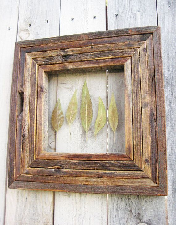 free ship rustic reclaimed salvaged barn wood frame with pressed green leaves autumn fall leaf