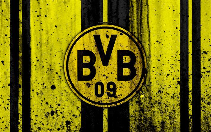 Download wallpapers FC Borussia Dortmund, 4k, logo, Bundesliga, stone texture, Germany, Borussia Dortmund, soccer, football club, Borussia Dortmund FC