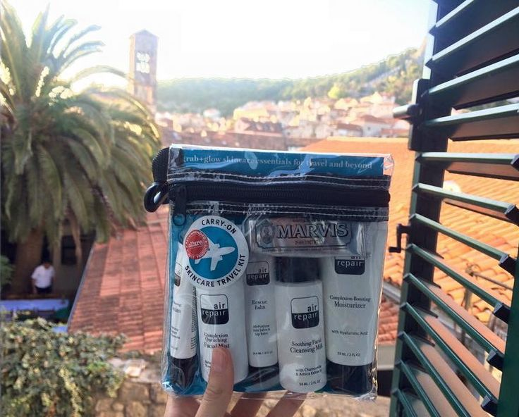 A gorgeous shot of @air_repairskin Travel Kit and Marvis Whitening Mint toothpaste taken in Hvar by @missannmarienolan #airrepair #travelkit #offenstore