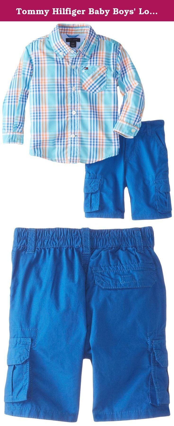 Tommy Hilfiger Baby Boys' Long Sleeve Poplin Plaid Shirt with Twill Cargo Short, Blue Jean, 24 Months. Captain long sleeve poplin plaid shirt with twill cargo short.