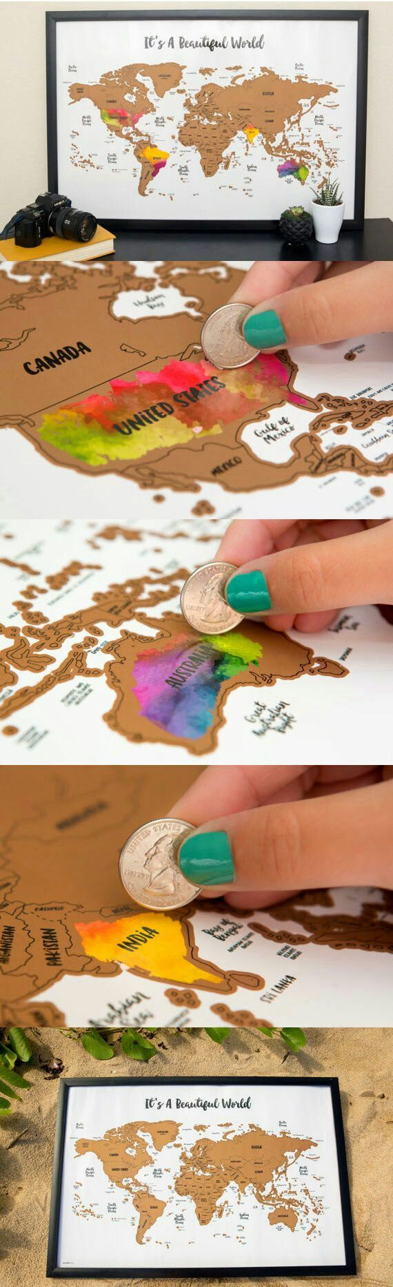 Scratch your travels with this gorgeous original watercolor world map. Bright, bold & interactive wall art that will fit any 12x18 size frame. Use a coin to scratch off the foil to reveal the bright colors of the countries you've visited!!