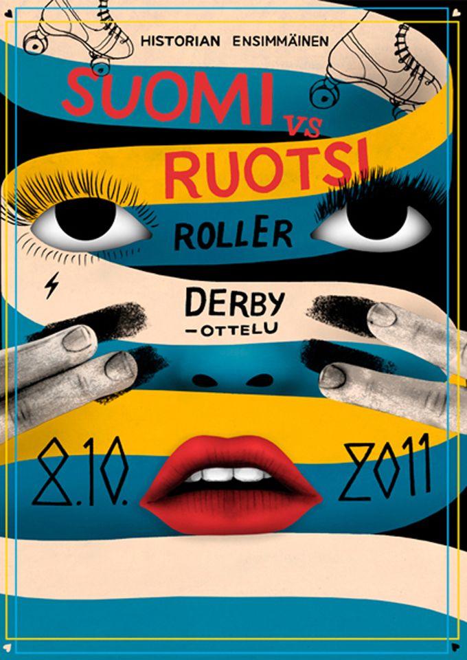 Helsinki Roller Derby poster by Pauliina Mäkelä