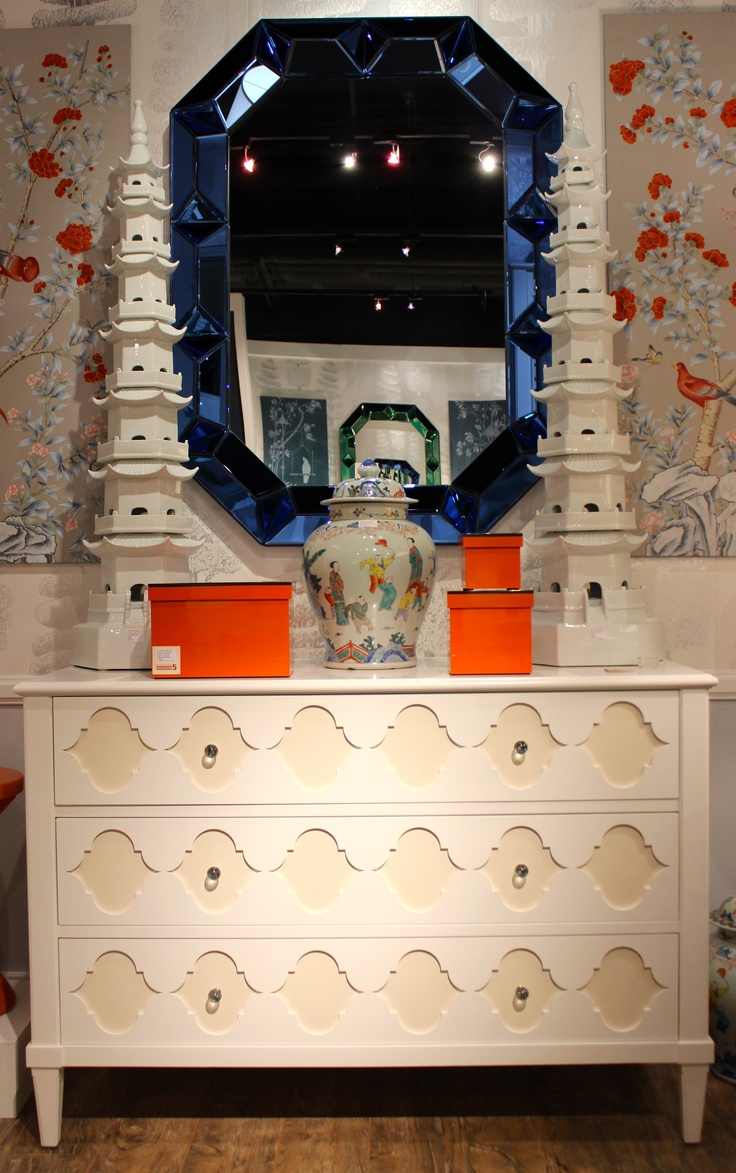 """Bungalow 5-IHFC Interhall 400 Item # MAI-250-09 Chest 49 1/2""""W x 20 1/2""""D x 33 3/4""""H #HpMkt #stylespotters Intricately carved tone on tone chest with lots of personality"""