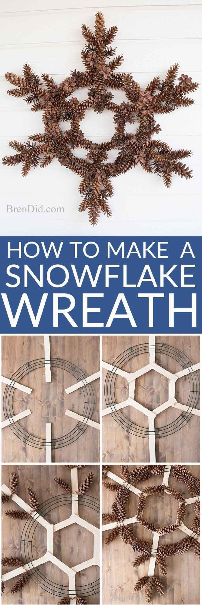 This simple pinecone snowflake wreath is the perfect snowy season decoration! Learn how to make this easy pine cone wreath!. #pinecone #wreath #snowflake #tutorial via @brendidblog