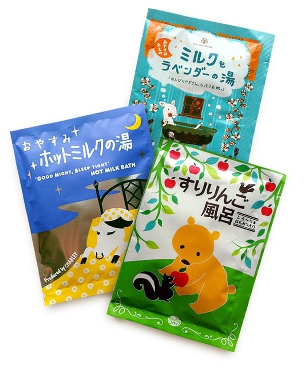 Japanese bath salts  ... how adorable is that cow in a bed, and how bad would i love a packet of that 'good night, sleep tight hot milk bath'!!!