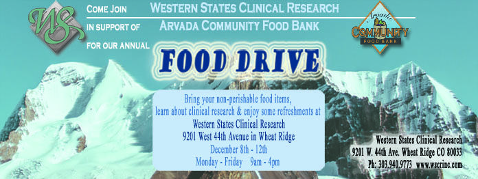 'Tis the season of giving! Please join us to stock the winter pantry of The Arvada Community Food Bank the weeks of December 8th to December 19th. Please stop by WSCR with some non-perishables to donate and stay for some winter treats too! http://wscrinc.com/