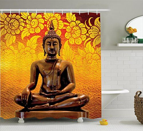 Ambesonne Buddha Decor Collection, Antique Buddha Sitting on Floor Floral Background Asian Oriental Image Home Decor, Polyester Fabric Bathroom Shower Curtain Set with Hooks, Orange Bronze