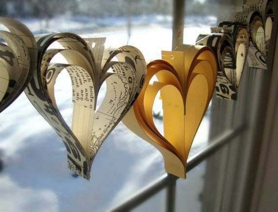Garland Heart Bunting cut from newspapers