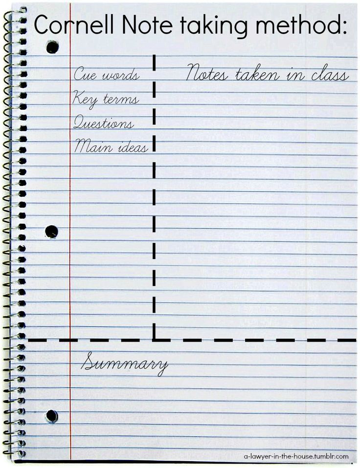 27 best School binder organization images on Pinterest College - cornell note taking template