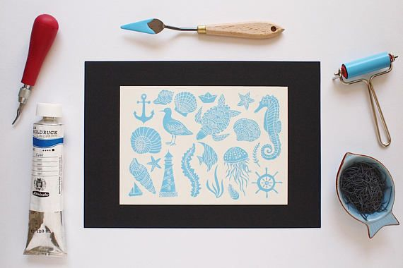 Wondering Sea Life  Original Handprint  Limited Edition