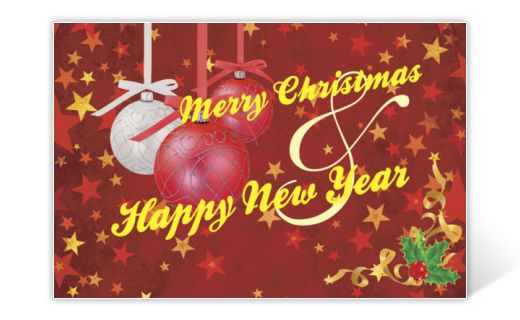 Classic Christmas card with red and yellow stars and Christmas baubles