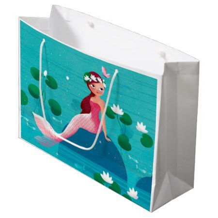 Pink Mermaid Gift Bag - tap, personalize, buy right now!  #illustrations #giftwrap #illustration #art #marine #sea #ocean #fish #mermaid #nautical #whimsical #romantic #cute #giftwrapping #giftbags