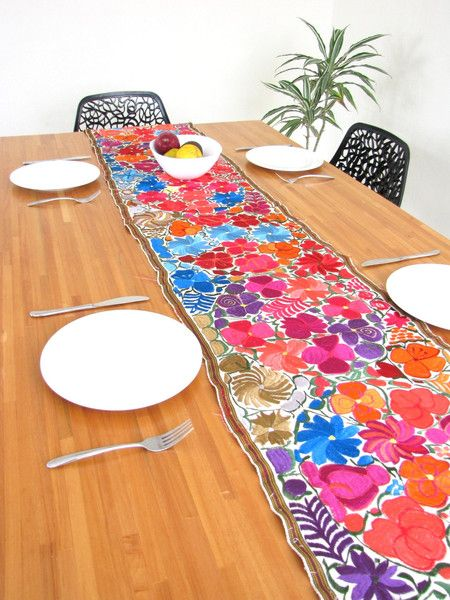Attractive Embroidered Table Runner | ChiapasBazaar.com | Handmade Mexican Blouses,  Accessories U0026 Home Decor