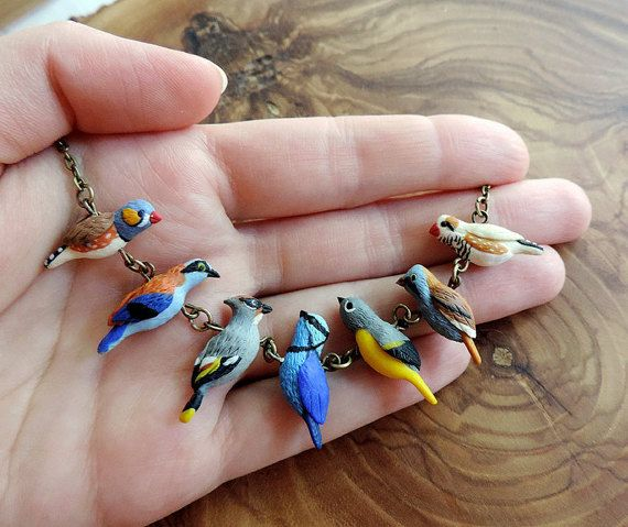 Little birds necklace - cute beads - polymer clay jewelry - handmade beads - colorful necklace - miniature birds