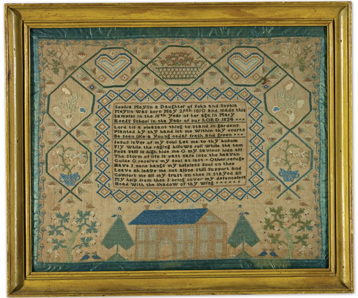 Sophia Meylin - Mary Reed's School, Lancaster, Pennsylvania - 1824. Age 15. silk on linen with ribbon border. Sold for 12,500 USD