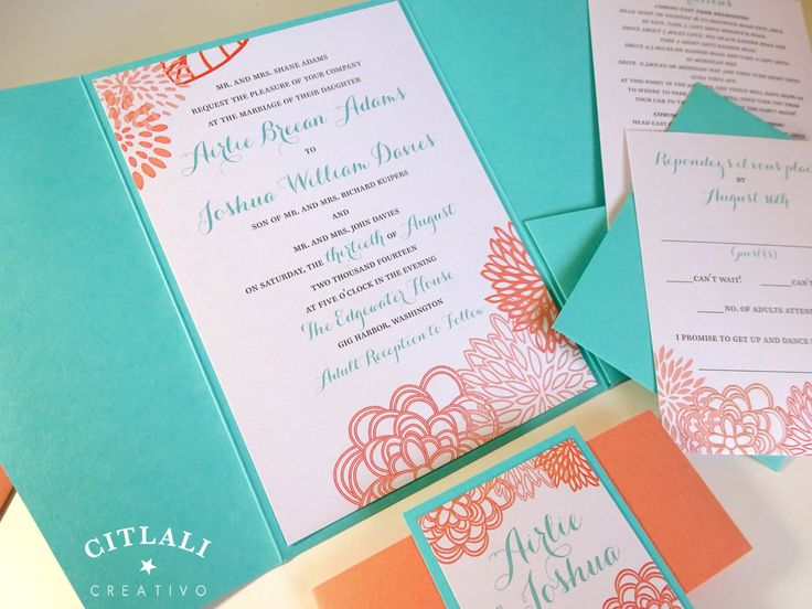 Blue And Coral Wedding Invitations: Modern Floral Pocket Folder Wedding Invitations In Aqua