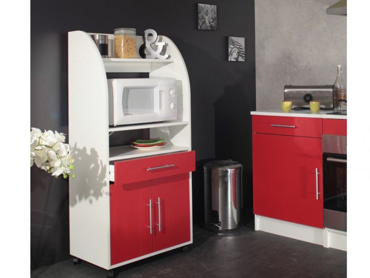 Desserte micro-ondes COLEEN - 2 portes - Blanc & rouge