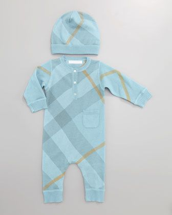 Cashmere-Cotton Check Hat &  Playsuit, Turquoise by Burberry at Neiman Marcus.