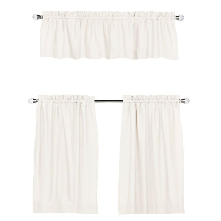 Browne 3 Piece Solid Cotton Kitchen Curtain Set