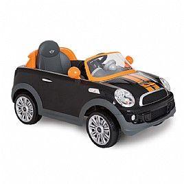 מכונית ממונעת לילדים עם שלט Mini Coper S Coupe 12V שחור כתום