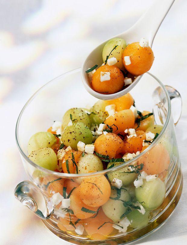 Meloenmedley met feta en munt