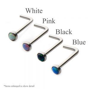 Synthetic Opal 316L Surgical Stainless Steel L Bend Nose Ring - 20ga