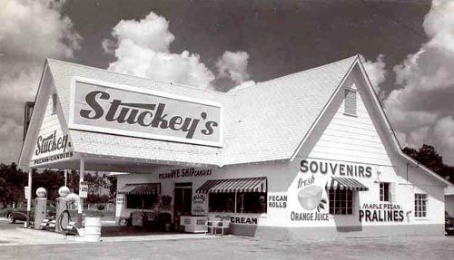 Stuckey's.  This is where you would stop to get gas and food on trips through the South, before there were gas stations and McDonald's at every single exit.  They had incredible pralines and peanut brittle.: Pecans Rolls, Cinema,  Movie Theater,  Movie Theatre, Places, Roads Trips,  Movie House, Pecans Logs, Logs Rolls