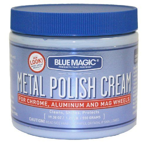 BlueMagic 500-06 Metal Polish Cream - 19 3/8 oz. by Blue Magic. Save 37 Off!. $12.82. BlueMagic Metal Polish Cream polish works on all metal surfaces and is non-abrasive. Works great on chrome, aluminum, mag wheels brass, copper, sterling silver, stainless steel or gold. Removes tarnish and oxidation, provides a lasting protective coating and can be used with buffers and polishers.