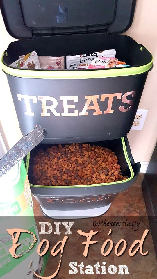 Need an organizational idea for all your dogs' stuff? Check out this DIY Dog Food Station that we made from an upcycled kitchen recycler and the amazing deals going on right now on Purina Dog Food at @target   #pets #dogs #dogfood #diy #dogfoodstation #dogfoodstorage #storage #ad #FeedDogsPurina