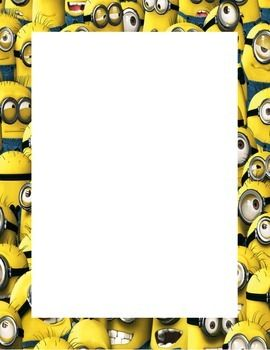 Minion themed print out page.  This .pdf document provides a fun minion-themed border for print outs and hand outs.  Simply download, print, and then reuse the page for inserting your own printed content.