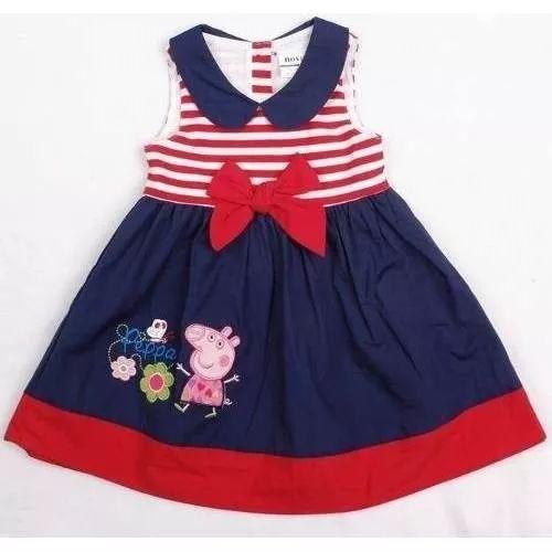 Vestido Peppa Pig Festa Azul E Vermelho - R$ 59,99