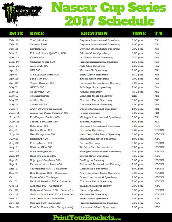 2017 Monster Energy Nascar Cup Series Schedule Nascarracing