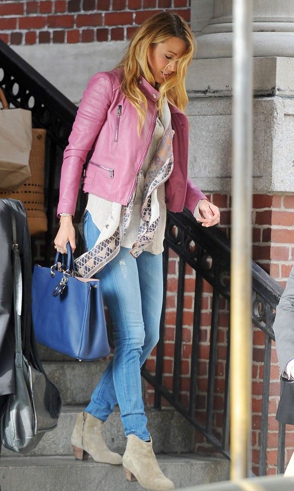 Blake Lively out & about in New York in pink biker jacket & blue denim pants #fashion