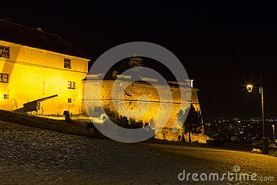 Night view of Brasov Fortress. The citadel was one of the strongest defensive citadels in Transylvania, Romania.