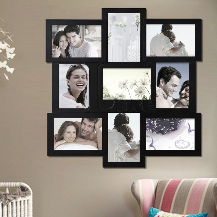 "9 Opening Decorative ""Love"" Wall Hanging Collage Picture Frame"
