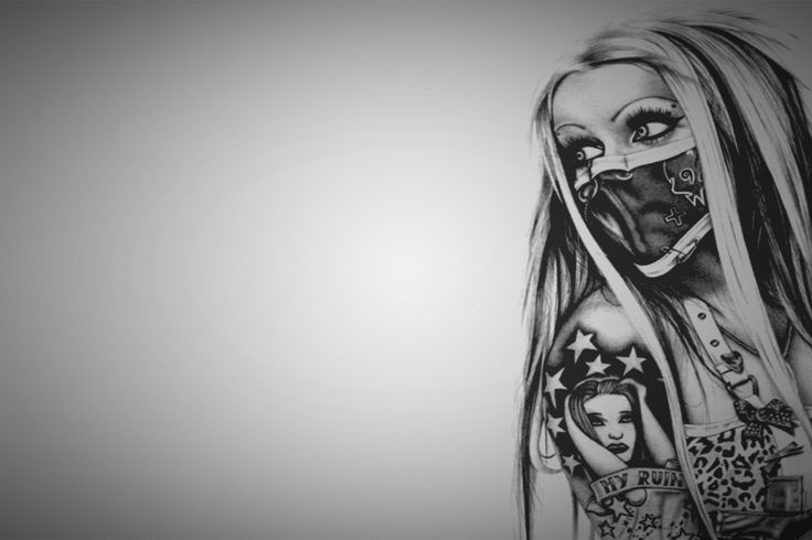Beautiful Girl Tattoo Arm Black and White Painting