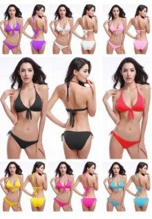 Halter Neck Strap Swimwear With Bow Front