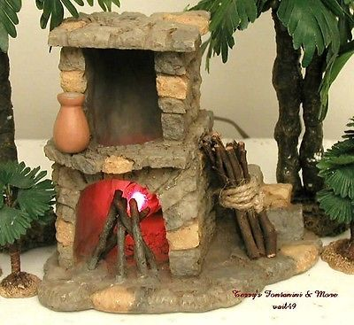 "FONTANINI ITALY RETIRED 5"" LITED STONE NATIVITY VILLAGE 1998 FIREPLACE 94802 MIB"