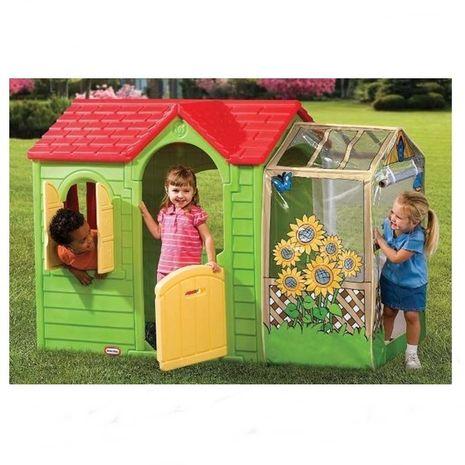 Jucarii de exterior :: Casute si spatii de joaca :: Casute pentru copii :: Casuta cu flori verde Little Tikes