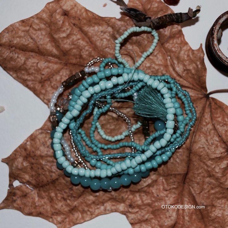 Купить Набор стильныйх браслетов разной ширины бирюзового в интернет магазине бижутерии, аксессуаров и мужской одежды - Otokodesign.com