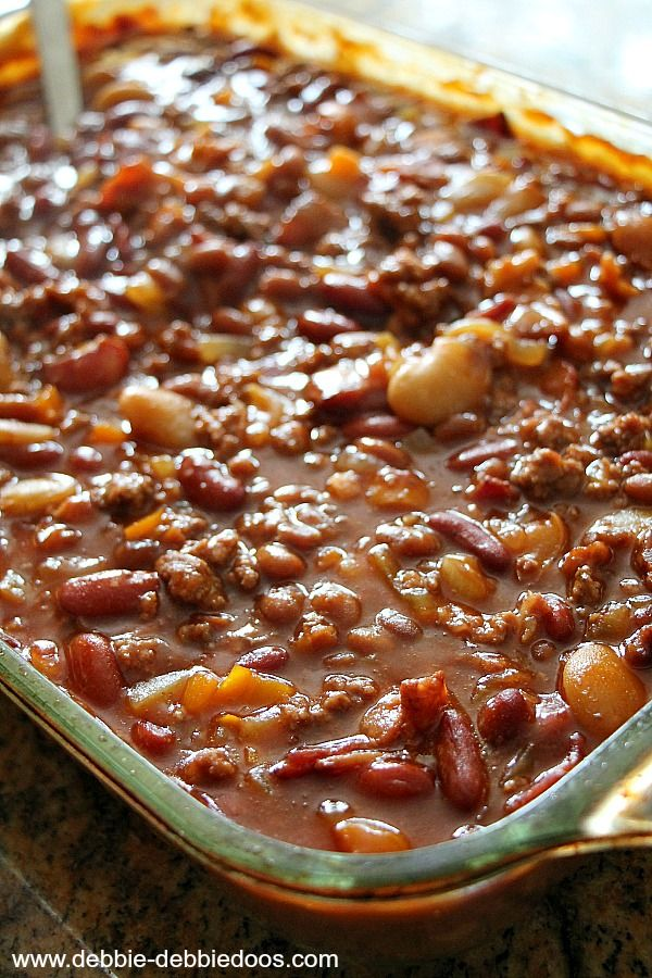 Homestyle baked beans - AMAZING. Made them for a Superbowl party in the crockpot, would be great in the summer for grilling too. A tad soupy, could add a little more bean or less soup.