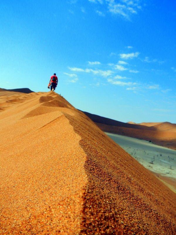 Dune trekking. Namib National Park, #Namibia - #Africa