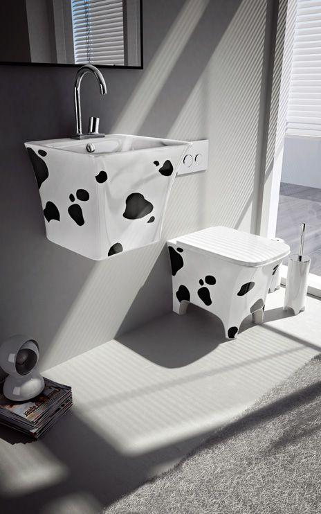 Cow, design Meneghello Paolelli Associati.  Decoro muccato / Cow Decor. #bagno #bathroom #design #decor #white #black  #Artceram
