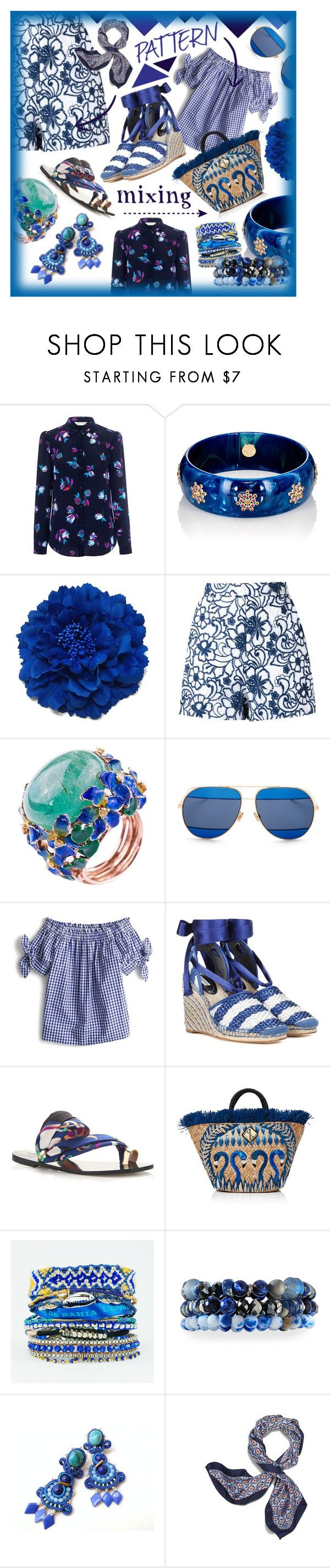 """Pattern Mixing: Be electric in blue prints from Head to Toe!"" by style-queen-kc-nigz ❤ liked on Polyvore featuring Rebecca Taylor, Mark Davis, Martha Medeiros, Christian Dior, J.Crew, Balenciaga, Aranáz, Hipanema, Lydell NYC and Lazuli"