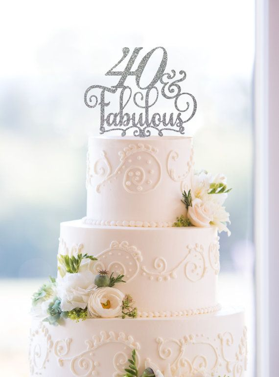 This beautiful 40 and Fabulous Birthday Topper is a fun and elegant way to dress up your cake for your 40th birthday. You can personalize